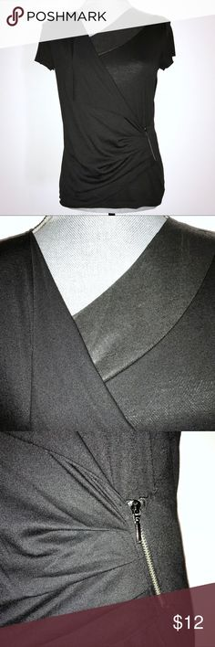 Armani Exchange Asymmetrical Zipper Top In very good condition. Faux leather panel at Neckline with asymmetrical drape front. Zipper detail on left side. Polyester blend. Armani Exchange Tops Blouses
