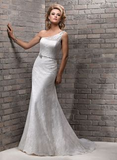 """Maggie Sottero """"Nina"""" - one-shoulder sheath with lace on Point d'Esprit over Romance Satin & beaded embellishments with Swarovski crystals"""