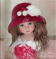 BERRY CARMINE Hat 4 Effner Little Darling, Ellowyne, Prudence, BJD by Linda