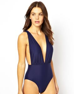 Asos Strappy Back Plunge Swimsuit on shopstyle.com