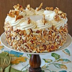 Burnt Almond Cake My Version White Mix Add 4 T Extract And Bake Two Cakes Frost With Caramel In S Frosting Plus One Package Of