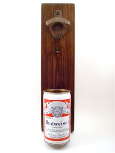 Vintage Budweiser Wall Mounted Bottle Opener With A Beer Can Cap Catcher by TexasTieDyeGuy on Etsy