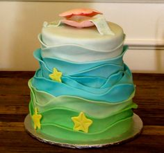 Under The Sea Birthday Cake- freaking love the layers to emulate water