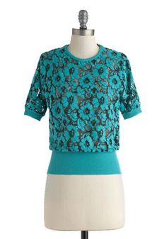 The Tuscan Fun Top. While Tuscany is known for its beautiful buildings, tourist attractions, and rich history, the views arent nearly as breathtaking as you will be when you sport this floral top by Bettie Page for a convertible drive through the Tuscan hills! #blue #modcloth