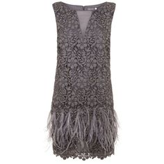 Mint Velvet Smoke Lace & Feather Dress ($240) ❤ liked on Polyvore featuring dresses, grey, women, grey shift dress, lacy dress, feather dress, feather cocktail dress and shift dress