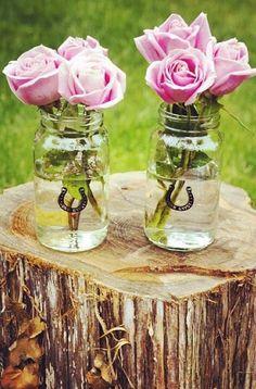 junk gypsy horseshoe mason jars with pink roses via @lizzytabb