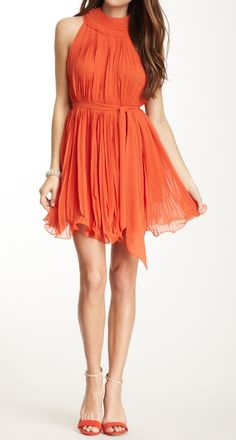 Coral pleated halter dress