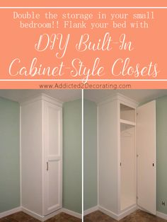 DIY - How to Build Cabinet-Style Closets To Flank Your Bed (Double Your Bedroom Storage!) - Addicted 2 Decorating® - DIY – How to Build Cabinet-Style Closets To Flank Your Bed (Double Your Bedroom Storage! Built In Cabinets, Diy Cabinets, How To Build Cabinets, Cupboards, Kitchen Cabinets, Closet Bedroom, Home Decor Bedroom, Diy Bedroom, Bedroom Ideas