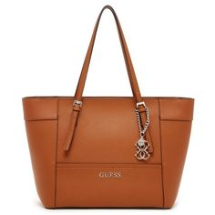 Guess Delaney Small Classic Tote ($88) ❤ liked on Polyvore featuring bags, handbags, tote bags, cognac, cognac tote bag, handbags totes, cognac purses, brown tote purse and embellished handbags