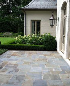 Stone Patio, Boxwoods & Hydrangea
