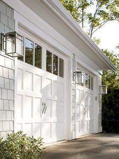 Garage doors & lanterns - Click image to find more Architecture Pinterest pins