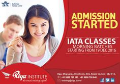 Admission Started!!!  #IATA Classes Morning Batches Starting from 19th December 2016.Join #RiyaInstitute and secure your future. Call +91 9562700121 or visit our website  for more details. #iataclasses #admission #aviation
