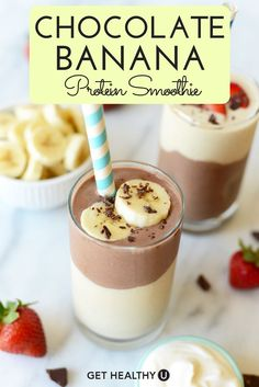 This delicious Layered Chocolate Banana Protein Smoothie is packed with protein and is a totally delicious way to start your day! It�s high protein content also makes it the perfect post-workout meal. This smoothie is super thick, satisfying, and will kee
