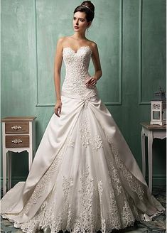 Gorgeous Satin & Tulle Sweetheart Neckline Dropped Waistline A-line Wedding Dress With Beaded Satin Appliques
