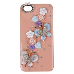 1x Stylish Bling Pink Butterfly Flower 3D Case Hard Cover For Apple iphone 5 5S