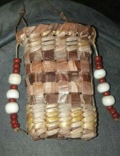 Cedar basket, medicine pouch.