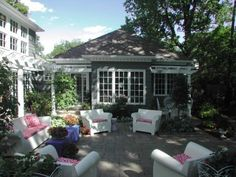 use garden shed to enclose patio