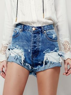 Outlaw Boyfriend Short | Perfectly destroyed handmade cuffed denim shorts in a high rise.  Traditional five-pocket style with a button fly.    *By One Teaspoon for Free People