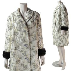 Vintage 1960's Custom Made Beaded Silver Lame Brocade Coat With Mink