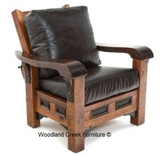 This rustic ranch chair is handcrafted from reclaimed barn wood and upholstered leather for cabin, lodge, ranch camp decors. Made in America. Ranch furniture.