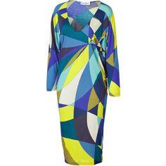 EMILIO PUCCI Lemon And Blue Geometric Print Jersey Dress ($960) ❤ liked on Polyvore