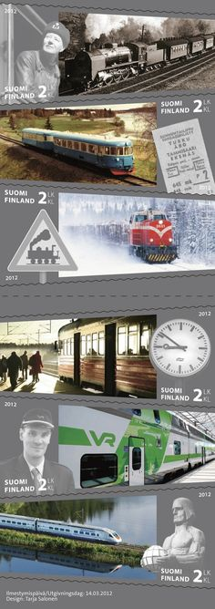 22 new Finnish stamps to be released Yesterday And Today, Postage Stamps, Finland, Train, Movie Posters, Design, Seals, The World, Trains