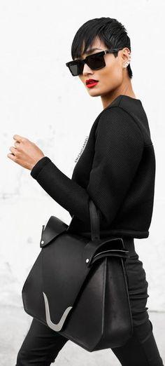 Sleek in all black and red lip. Similar styles on fashion app www.fadstir.com #womensfashion