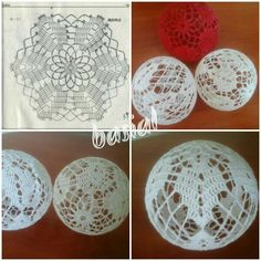 Anna's media content and analytics Crochet Ball, Crochet Motif, Irish Crochet, Crochet Doilies, Crochet Christmas Ornaments, Crochet Snowflakes, Christmas Crafts, Christmas Decorations, Doily Patterns