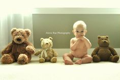 Baby and his bear friends.  6 months old.  Baby photography.  Photo by: Alexis Rae Photography