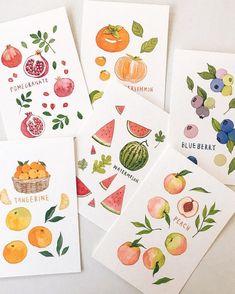 Watercolor Paintings For Beginners, Watercolour Tutorials, Watercolor Fruit, Watercolor Artwork, Fruit Illustration, Watercolor Illustration, Art Sketches, Art Drawings, Fruits Drawing
