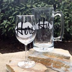 Personalized Wine Glass and Mug, Beer Mug, Etched Glass Beer Mug, Etched Wine Glass, His and Hers Drinkware, Wedding Gift, Anniversary Gift by AnchorInCreativity on Etsy