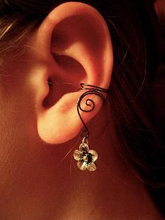 Pair Of Hematite Ear Cuffs With Whimsical Five Petal Flower Charms   Luulla