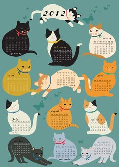 Cats Calender 2012limited edition print by sevenstar on Etsy, $21,00