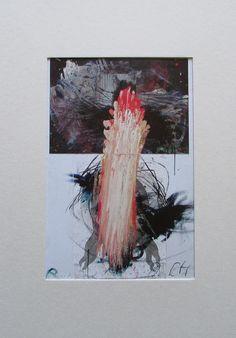 Arnulf Rainer GESTISCHE CHRISTUSKOPFÜBERMALUNG im Passepartout Kunstdruck