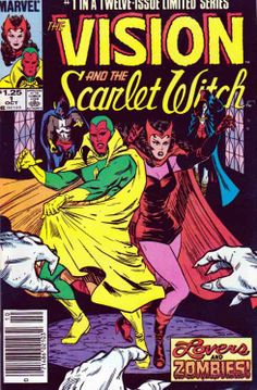 Vision and The Scarlet Witch #1 This issue recaps the origins of both the Scarlet Witch and the Vision.  Continued in West Coast Avengers #2.  The Scarlet Witch breaks into Project Pegasus to free the Vision who's being studied by Henry Gyrich. They both resign as Avengers and head out to Leonia, New Jersey and look for a new home. Unfortunately, they're attacked by zombies and the Vision is rendered inoperative and the Scarlet Witch is captured.