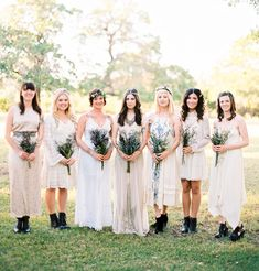 Boho bridesmaids in Free People, Urban Outfitters + vintage finds