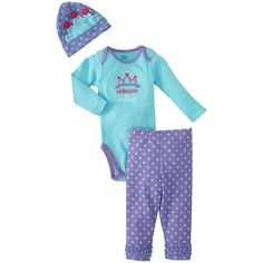Gerber Baby-Girls Newborn 3 Piece Onesies Brand Bodysuit Pants and Cap... ($15) ❤ liked on Polyvore featuring baby