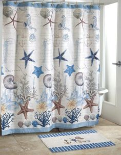 enchanting nautical themed bathroom set with chic shower curtain and rug with sea creatures and under