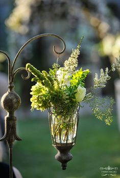 Beautiful hanging lantern with flowers