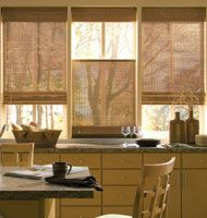 Bamboo curtains for window coverings in home interior Kitchen Curtain Designs, Modern Kitchen Curtains, Kitchen Window Blinds, Kitchen Window Coverings, Kitchen Windows, Bathroom Designs, Modern Curtains, Kitchen Designs, Kitchen Ideas
