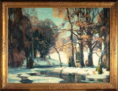 For Sale on - Sunlit Waters, Canvas, Oil Paint by John F. Offered by Questroyal Fine Art. Impressionist Landscape, Abstract Landscape, Landscape Paintings, Landscapes, Awesome Art, Cool Art, Painted Trees, Classical Realism, Painting Snow