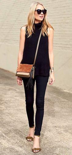 casual inspiration top + pants + bag