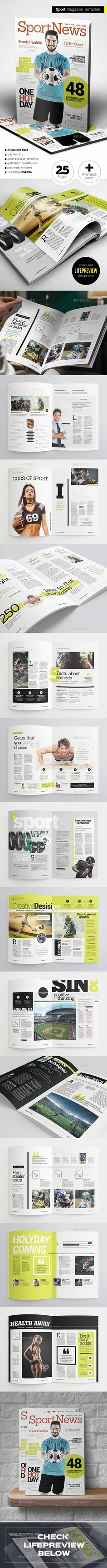 Sport Magazine — Vector EPS #layout #magazine layout • Available here → https://graphicriver.net/item/sport-magazine/15774575?ref=pxcr