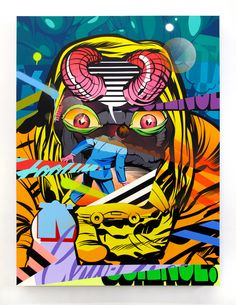 """Chicago-based artist Jordan Nickel, aka POSE, creates outstanding mixed-media paintings and large-scale, hand-painted murals.   """"Inspired by the streets, fellow graffiti artists, cartoons, and pop art, his compositions — whether on a wall or on canvas—burst with bright color, energy, and a pileup of fragmented, overlapping images. Humor meets violence in POSE's works, which may contain references to crime, cops, and destruction next to images of bananas, melting ice-cream cones, or open ..."""