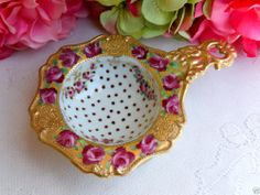 Early Nippon Porcelain Tea Strainer ~ Hand Painted Roses ~ Gold Gild ~ Beading