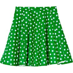 Miu Miu Polka-dot cotton-poplin skater skirt (1.040 BRL) ❤ liked on Polyvore featuring skirts, bottoms, saias, green, women, green circle skirt, pleated skater skirt, green polka dot skirt, miu miu skirt and polka dot pleated skirt