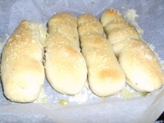 Quick and easy to make bread sticks for those times when you want homemade bread sticks, but do not have the time to wait for them to rise. This recipe was found at www.domesticgoddess.com and modified to our liking.
