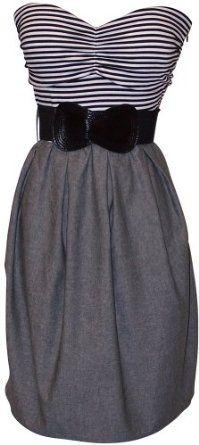 Black White Grey Belted Stripe Tube Dress Plus Size