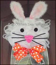 Easter Bunny Wreath by aDOORableDecoWreaths on Etsy