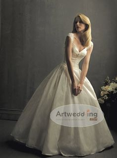 Cap Sleeves Ball Gown with Lace Detail